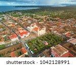 view from sky on granada city.... | Shutterstock . vector #1042128991