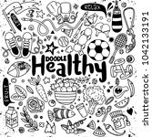 healthy lifestyle concept hand... | Shutterstock .eps vector #1042133191