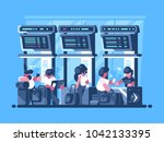 checking and check in of...   Shutterstock .eps vector #1042133395