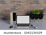 mock up workplace with computer ... | Shutterstock . vector #1042134109