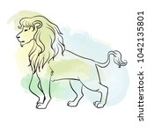 african lion. animal sketch on... | Shutterstock .eps vector #1042135801
