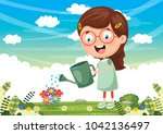 vector illustration of kid... | Shutterstock .eps vector #1042136497