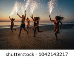 group of friends having fun... | Shutterstock . vector #1042143217