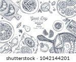 breakfast top view illustration.... | Shutterstock .eps vector #1042144201