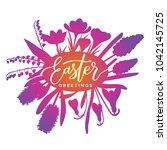 easter greetings vector... | Shutterstock .eps vector #1042145725
