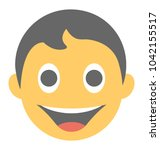 a laughing expression shown via ...   Shutterstock .eps vector #1042155517