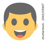 a laughing expression shown via ...   Shutterstock .eps vector #1042155607
