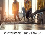 concrete pouring during...   Shutterstock . vector #1042156237