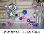 the decor of the first birthday   Shutterstock . vector #1042166071