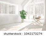 white empty room with winter... | Shutterstock . vector #1042173274