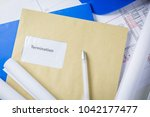 termination notice in a brown... | Shutterstock . vector #1042177477