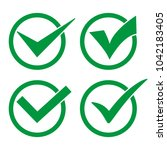 set green check mark icon...   Shutterstock .eps vector #1042183405