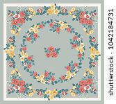 scarf floral print. russian... | Shutterstock .eps vector #1042184731
