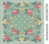 scarf floral print. russian... | Shutterstock .eps vector #1042184734