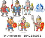 funny medieval warriors  set of ... | Shutterstock .eps vector #1042186081