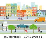 city with traffic and... | Shutterstock . vector #1042190551