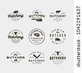 set of vintage butchery logos.... | Shutterstock .eps vector #1042191637