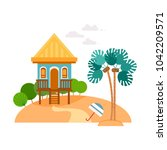 beach houses collection.... | Shutterstock .eps vector #1042209571