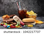 unhealthy products. food bad... | Shutterstock . vector #1042217737