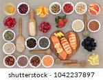 healthy diet food concept with... | Shutterstock . vector #1042237897