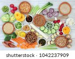 macrobiotic health food concept ... | Shutterstock . vector #1042237909