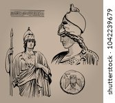 athena pallas. ancient greek... | Shutterstock .eps vector #1042239679