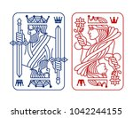 king and queen playing card | Shutterstock .eps vector #1042244155