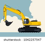 big yellow excavator  sky with... | Shutterstock .eps vector #1042257547