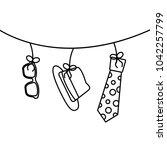 classic hat necktie and glasses ...   Shutterstock .eps vector #1042257799
