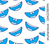 pattern with mouths face... | Shutterstock .eps vector #1042258594