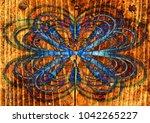 floral background blue wooden ... | Shutterstock . vector #1042265227