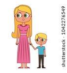 happy mother and her son cartoon | Shutterstock .eps vector #1042276549