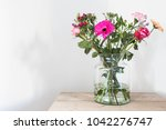 colorful flowers in vase ... | Shutterstock . vector #1042276747