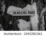 a rustic wooden dead end road... | Shutterstock . vector #1042281361