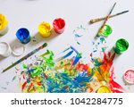 the canvas is painted with...   Shutterstock . vector #1042284775