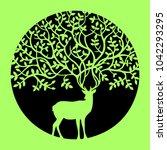 deer elk doe hind tree leaf... | Shutterstock .eps vector #1042293295