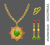 fashion jewelry set with... | Shutterstock .eps vector #1042298161