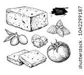 greek feta cheese block  slice... | Shutterstock . vector #1042299187