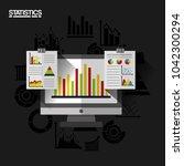 statistics data business report   Shutterstock .eps vector #1042300294
