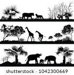 wild animals  giraffe  elephant ... | Shutterstock . vector #1042300669