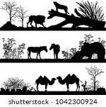set of illustration with wild... | Shutterstock . vector #1042300924