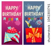 birthday party. banners for... | Shutterstock .eps vector #1042303741
