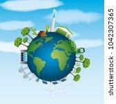 world ecological composition...   Shutterstock .eps vector #1042307365