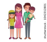 happy family standing together... | Shutterstock .eps vector #1042312801