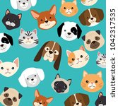 heads dogs and cats pets pattern | Shutterstock .eps vector #1042317535