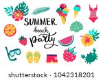 summer beach party lettering.... | Shutterstock .eps vector #1042318201