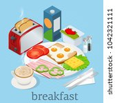 isometric breakfast and kitchen ... | Shutterstock .eps vector #1042321111