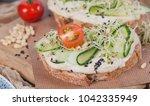 healthy vegetarian bruschettas... | Shutterstock . vector #1042335949