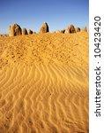 Pinnacles desert at sunset in Australia - stock photo