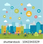 connected smart green city with ... | Shutterstock .eps vector #1042343329